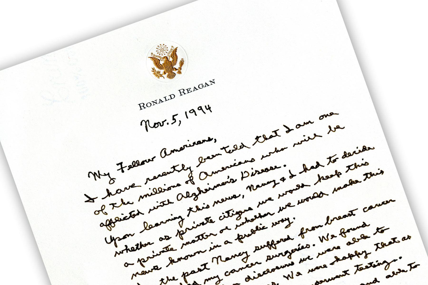 Reagan Letter about Alzheimer's disease