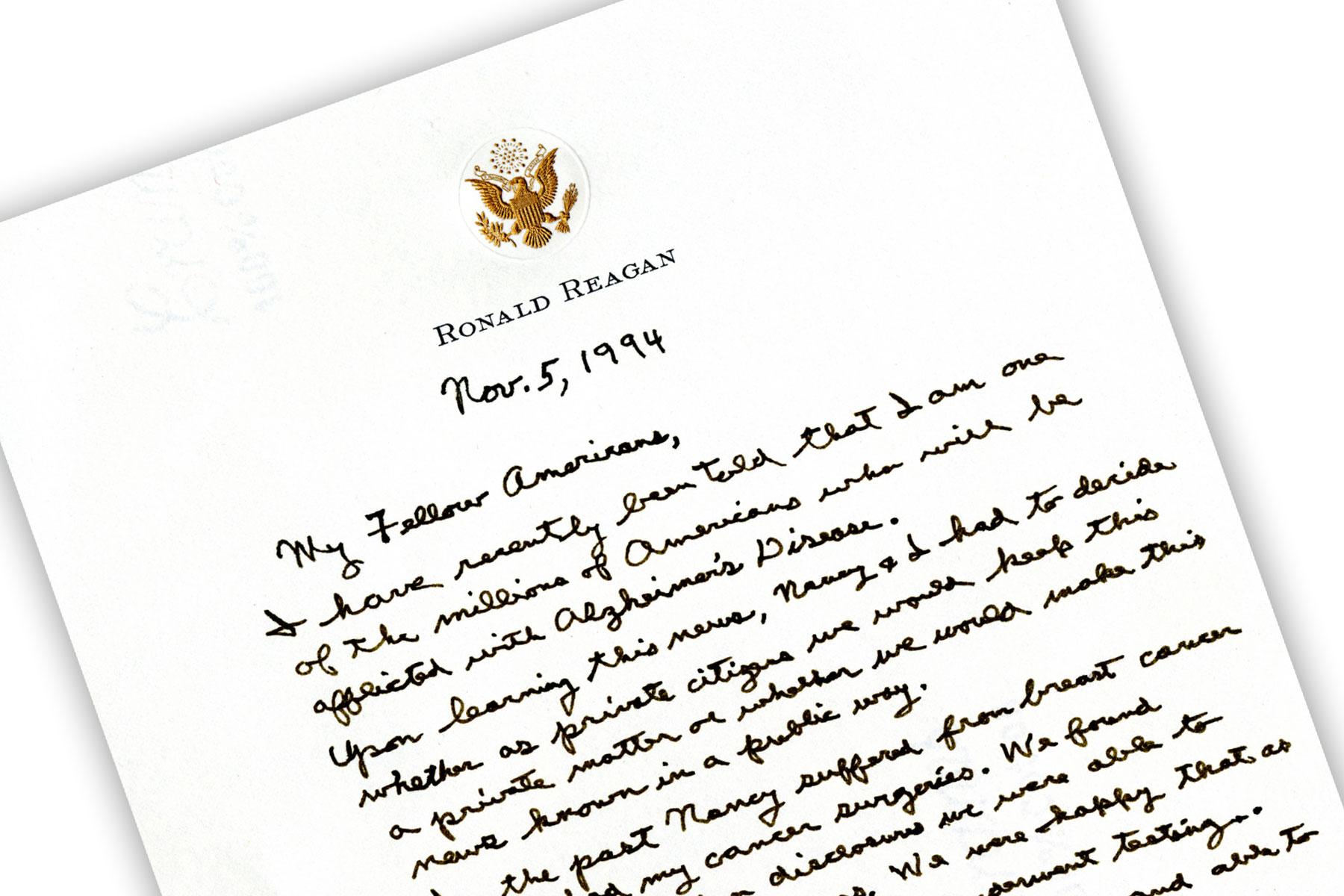 Reagan Letter about Alzheimer's disease